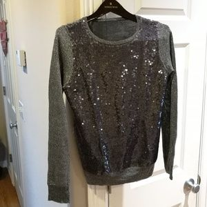 Sweaters - Dark Gray Sequin Sweater